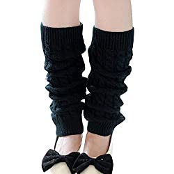 ZARU 1 par Mujeres de la manera caliente calentadores de punto Crochet calcetines largos para el otoño invierno (Negro)