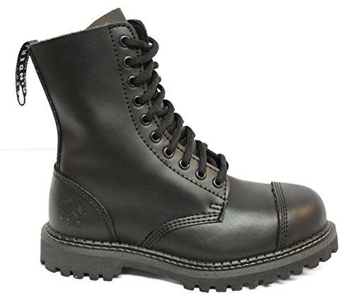 Grinders originale style militaire noir des bottes de combat avec 10 Oeillets et Toe Cap d'acier