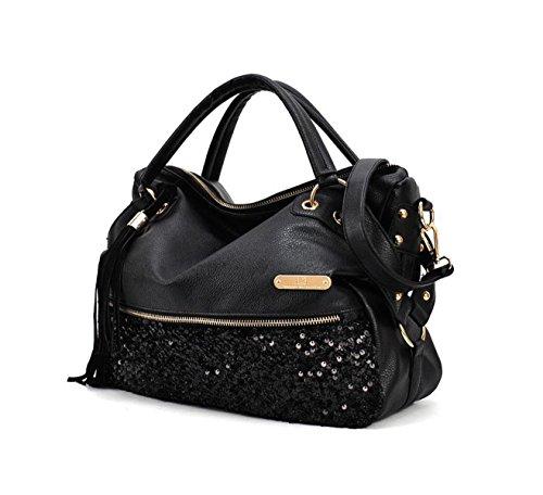 XY Fancy Damen Handtasche Mode Henkeltasche Hobo Stil PU Leder Umhängetasche Satchel Schultertasche, Schwarz (Echtes Sling-rucksack Leder Hobo)