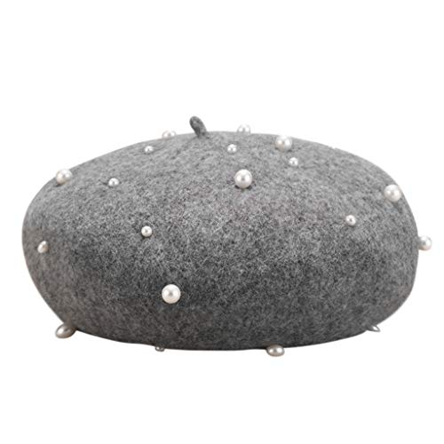 Higlles Damen Vintage Winter Baskenmütze Volltonfarbe Wolle Maler Hut Perle Besetzt Stereo Kürbis Hut Kleid Mütze