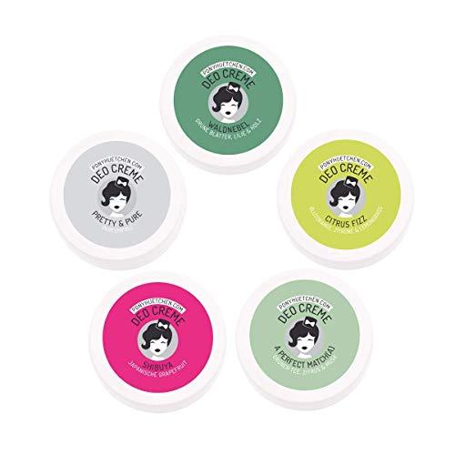 PonyHütchen Naturkosmetik Deo Creme ohne Aluminiumsalze - Probierset 5x 5ml - natürliches Deodorant - vegan - Probenset - BIO Deocreme