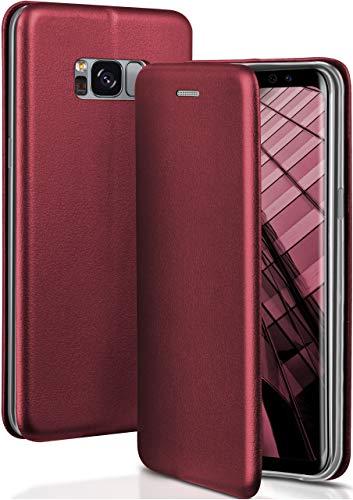 ONEFLOW Samsung Galaxy S8 | Hülle Dunkel-Rot mit Karten-Fach 360° Business Klapp-Hülle Handytasche Kunst-Leder Handyhülle für Samsung Galaxy S8 Flip Case Cover Tasche Schutzhülle