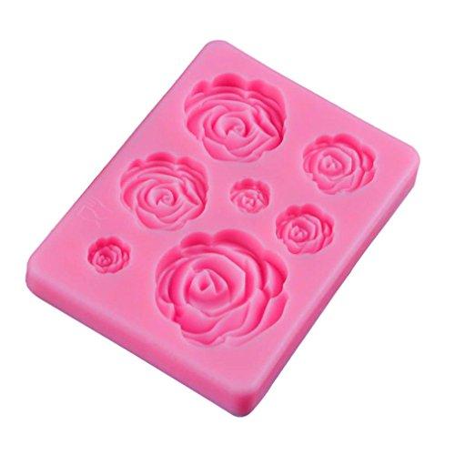 Ouken Sieben Mini Rosen-Muster Flüssig-Silikon-Form DIY Fondant-Form-Kuchen Küche