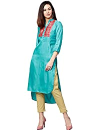 Jaipur Kurti Women Blue & Cream Solid Straight Satin Kurta With Pant