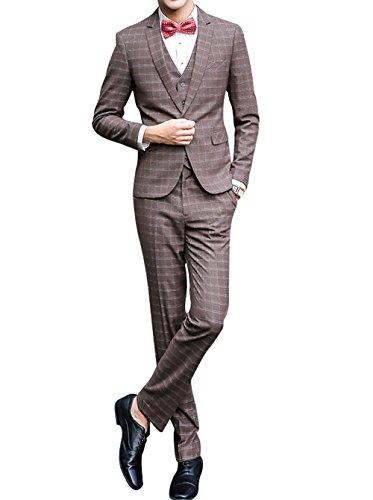 Slim Fit Schnitt Herren ein knopf 3-Teilig Anzug Kariert Design mit Weste +Fliege Hochzeit Party (Oder 3-knopf-anzug 2-knopf)