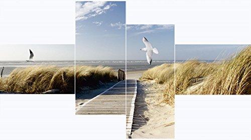 Artland Mehrteiliges Leinwand-Bild fertig aufgespannt auf Holzfaserplatte Eva Gruendemann Nordseestrand auf Langeoog mit Möwen Landschaften Strand Meer Fotografie Blau A7KF