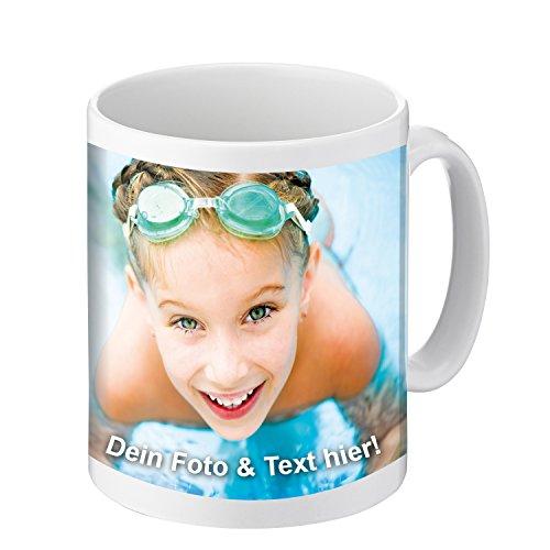 Tasse mit persönlichem Motiv Bedrucken (persönliche Fototasse mit eigenem Bild und Text, Spülmaschinenfestes Motiv, frei individualisierbarer Kaffeebecher), weiß (Standard)