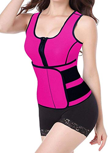 Damen Shapewear Elegante Trendigen Ärmellos Figurformend Bustier Neopren Anzug Party Stil Sauna Tank Top Weste Mit Verstellbaren Taille Trimmer (Color : Rosa, Size : 4XL)