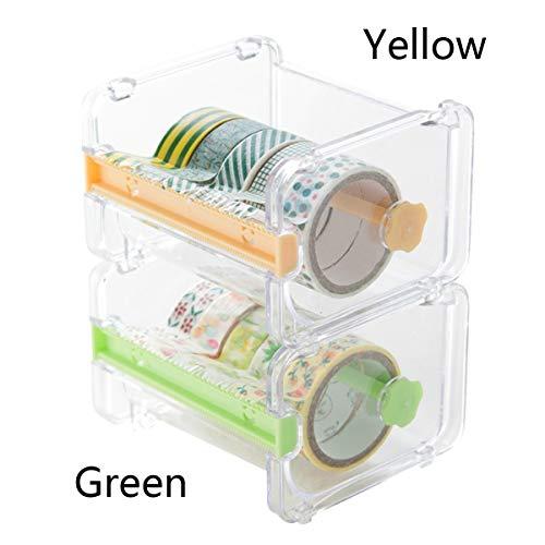 Decorativo decorativo japonés Washi, cinta adhesiva/cortadora de cinta transparente de escritorio con dispensador de cinta visible
