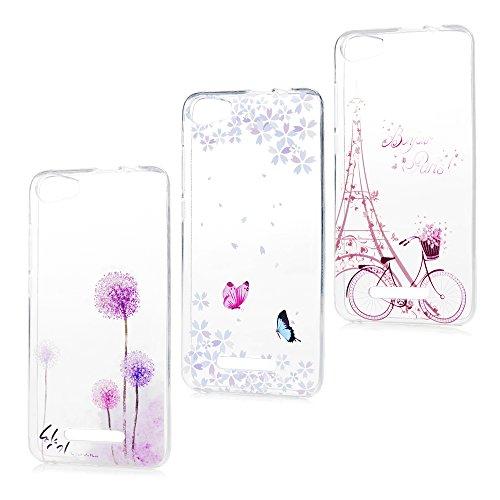 Lenny 2 Hülle TPU Case Schutzhülle Silikon Crystal Case Durchsichtig Cover Schale Handy Tasche Skin(Fahrrad-Eiffel Turm + Schmetterlinge + Lila Löwenzahn Pusteblume) (Eiffel Turm Schale)