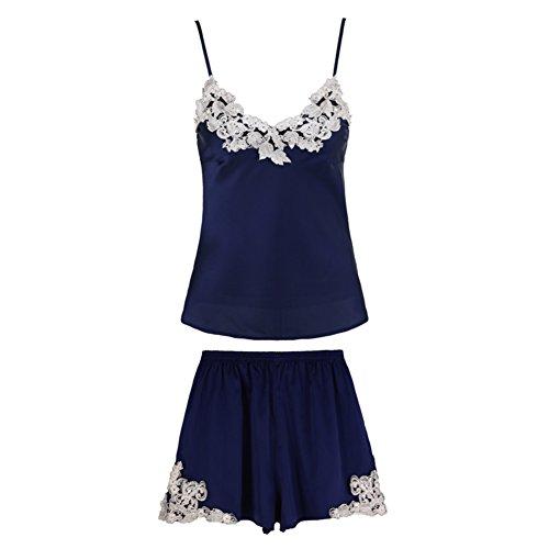 Wangs Women's Nightwear,Lace Embellishedembroidered Silk Nightwear,2 Set