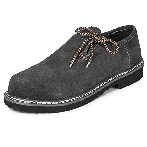 PAULGOS Trachtenschuhe Echt Leder Haferlschuhe Haferl Trachten Schuhe in 4 Farben Gr. 39-47 (42, Grau)