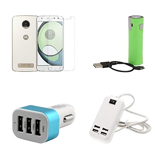 Cell Planet's Moto Z2 Play Compatible High Quaity (Temper Glass & 2600 MAH Power Bank & 3 Port Car Charger & 3 Port Car Charger) CP-14618