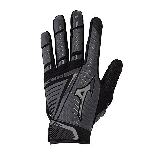 Mizuno B-303 Adult Baseball Batting Glove, Black-Charcoal, Large