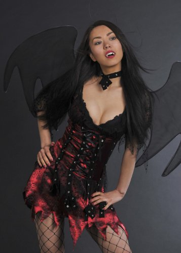 Magic Box Int. Ladies Dark Gothic Vampire Fairy Kostüm M (UK - Dark Fairy Fancy Dress Kostüm