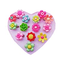 Kids Adjustable Flower Ring Little Girls 12PCS Mixed Finger Rings Set with Heart Shape Box Girl Gift Pretend Play and Dress Up Rings (Flower)