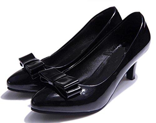 LDMB Damen Runder Toe Einzelne Schuhe Bow-Knot Schwarz Karriere Leder Schuhe Black