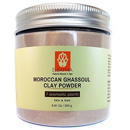elbahya-marocaine-rhassoul-ghassoul-poudre-avec-7-plantes-pour-masque-maison-cheveux-et-visage-250g