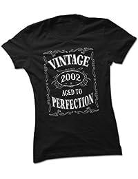 bybulldog Vintage 2002 Aged To Perfection 16th Birthday Present Ladies Premium Black T-Shirt Small To 2XL
