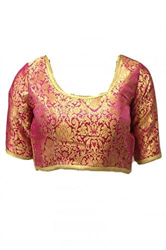 RMB3131 Magenta & Gold Fertige Designer Saree Bluse Indian Bollywood Ready Made Blouse Magenta