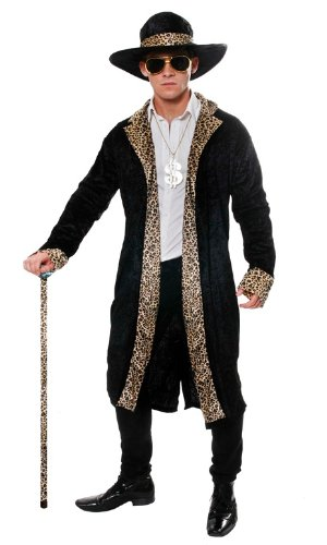 Mantel Pimp Kostüm - Pimp Fancy Dress Costume (Black)