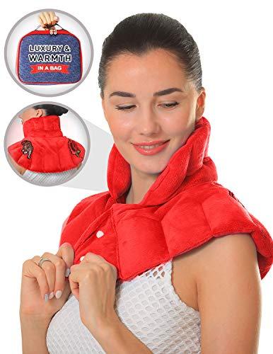 Pykal Luxuriöses Nacken Wärmekissen Mikrowelle für Hals & Schulter mit Gratis Aufbewahrungstasche   Feuchte Wärmetherapie mit Aromatherapie bei Hals- Und Muskelschmerzen, Migräne oder Stressabbau