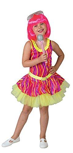 Karneval-Klamotten Rockstar Mädchen-Kostüm Popstar neon Mädchen Kinder-Kostüm Sängerin Musikerin 80er Jahre Kostüm Größe 128
