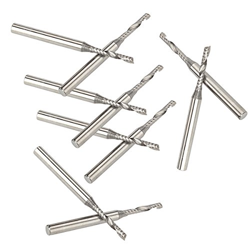 BQLZR 2mm CNC Fräsen Hartmetall Spiralbohrer Einzel Flöte Tasteless 10pcs - 2