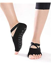 DYJILE Calcetines de Yoga de Mujer versátil Calcetines Antideslizantes Cinco pies Calcetines, Función de pie Caliente Natural Cómodo…