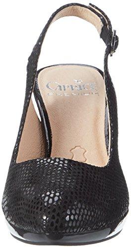 Caprice 29607, Sandales Compensées Femme Noir (reptile Noir)
