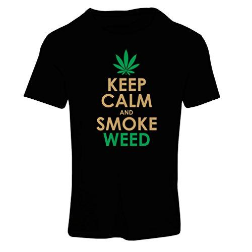 Frauen T-Shirt Halten Sie Ruhe und Rauch - Marihuana Blatt - Unkraut Raucher (X-Large Schwarz Gold)