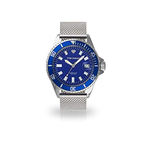 YVES CAMANI ANWEN Quarz Armbanduhr Analog silbernes Milanaisearmband blaues Zifferblatt YC1065-C-686