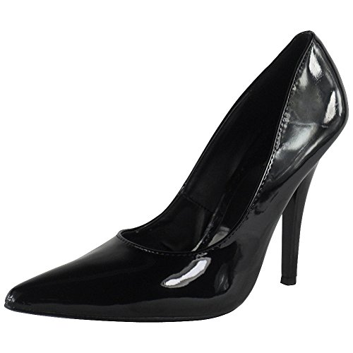 Loudlook Neuen Frauen-Dame-Stiletto Fetish Going Out-Pumpen-Schuhe Gro?e Gr??en 9-12 Black Patent