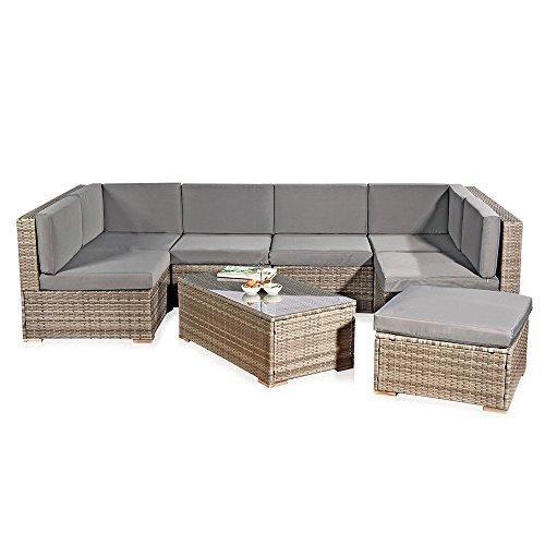 Melko XXL Gartenset, Poly Rattan, Lounge Sofa-Garnitur mit Glastisch, inklusive Kissen, mehrteilig, Grau