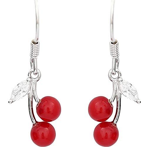 Ohrring 925 Sterling Silber Kirsche Ohrringe Flash Diamond Red Fruit Ohrringe Temperament Süße süße Ohrringe (Für Ohrringe Männer Red Diamond)