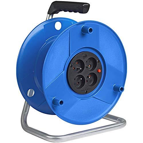 Brennenstuhl Enrouleur de câble vide Standard S, capacité 50 m, tambour vide avec 4 prises & 1 fiche (2P+T 16A/230V~), bleu, Garantie 3 ans, Fabrication Francaise
