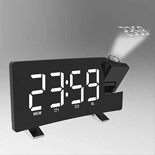 Reloj despertador con proyector de espejo LED, radio reloj digital, pantalla curva grande Snooze Timer...