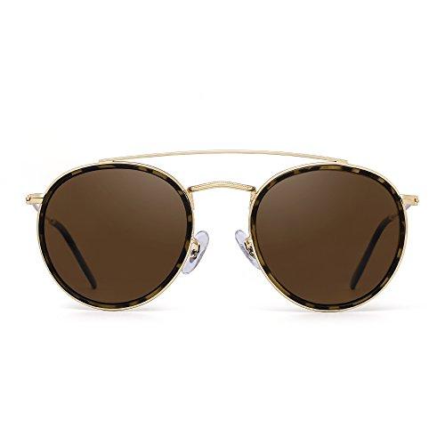 JIM HALO Runden Polarisiert Sonnenbrille Metall Rahmen Flach Kreis Linse Brille Damen Herren(Gold-Legierung Schildkröte Tipp/Polarisiertes Braun)