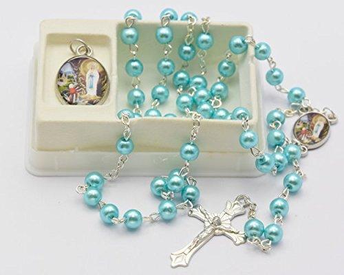 Türkis Lourdes Rosenkranz Perlen mit passenden Lourdes Apparition Medaille-katholischen Rosenkranz Perlen - Messe-medaille