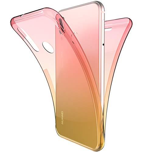 Coque Huawei P20 Lite,ikasus Intégral 360 Degres avant + arrière Full Body Protection Couleur de dégradé Transparente Silicone Gel TPU Souple Housse Etui Case Coque pour Huawei P20 Lite,Rose Jaune