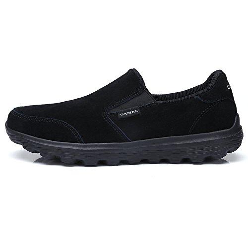CAMEL CROWN Herren Slip On Sneakers Leichtes Leder Wanderschuhe Slipper Lauf Schuhe Sportschuhe Bequeme Freizeitschuhe für Arbeitsbüro Fahren Outdoor