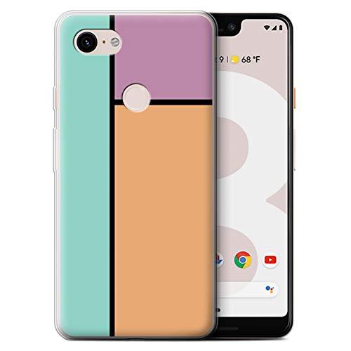 Stuff4® Gel TPU Hülle/Case für Google Pixel 3 XL / 3 Fliesen/Orange Muster/Pastell Fliesen Kollektion