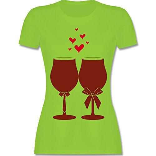 Symbole - Weingläser Wein - tailliertes Premium T-Shirt mit Rundhalsausschnitt für Damen Hellgrün
