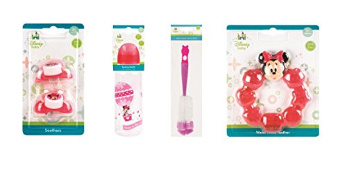 Invero® Disney Babies 4 in 1 Essentials Kit – Includes Baby Feeding Bottle 250ml, Water Filled Teether, Baby Bottle Brush and a Twin Pack of Baby Soothers features Disney Printed Characters (Minnie Mouse)