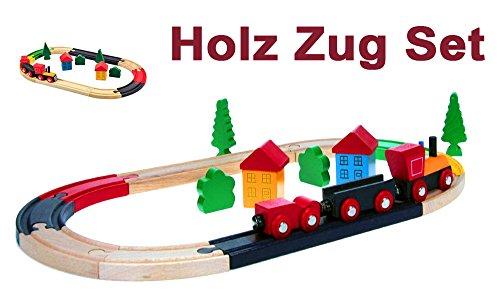Brigamo 17892 - HolzEisenbahn Set, Holzspielzeug Eisebahn mit Waggons und Schienen thumbnail