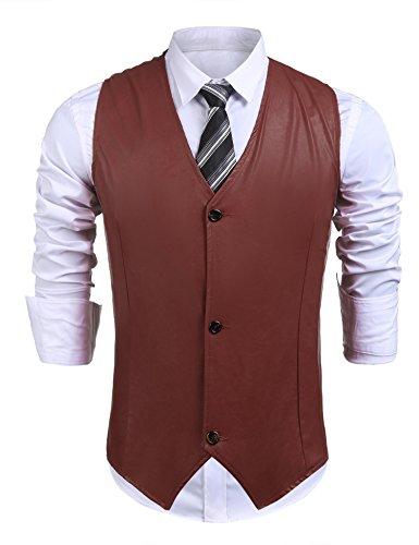 zeela Herren Casual Business Weste Slim Fit Basic Mode Kunstleder Anzugweste Herrenweste Sakko mit 3 Knöpfe