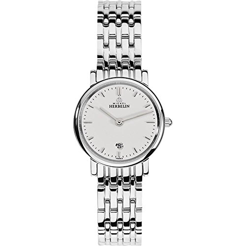 Michel Herbelin Women's 26mm Steel Bracelet & Case Sapphire Crystal Quartz White Dial Watch 16945/B11