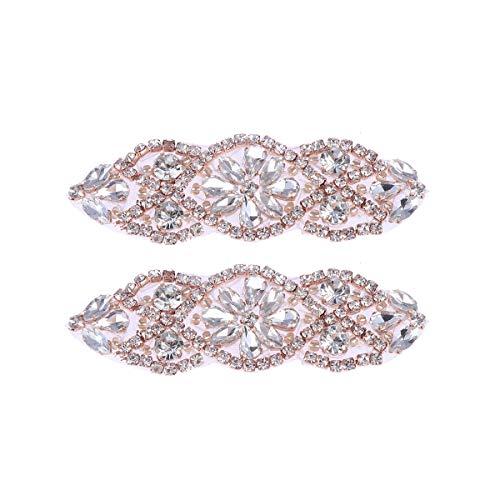 SUPVOX 2pc Braut Applique Strass Applique für Hochzeit Kristall Braut Gürtel Applique Silber (Rosy Golden White Diamond)