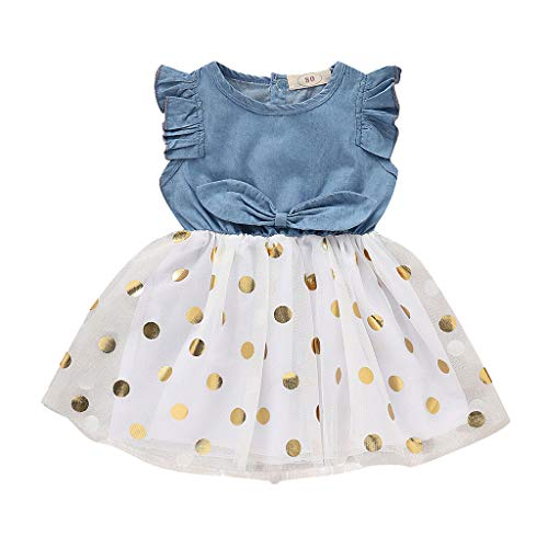 squarex Sommer Kleinkind Baby Mädchen Kinder Sleeveless Solid Color Denim Bow Spleißen Polka Dot Print Mesh Puff Rock Kleid