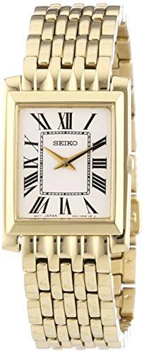 Seiko SUJG22P1 - Reloj analógico de mujer de cuarzo con correa de acero inoxidable dorada - sumergible a 30 metros